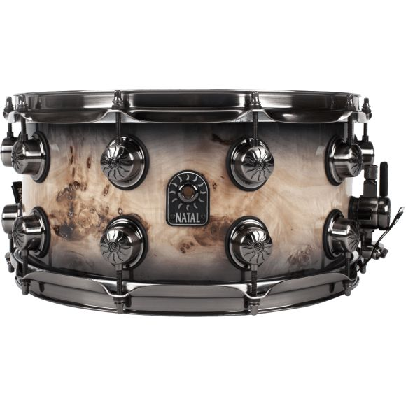 """Caisse claire """"Mappa Burl"""" 14"""" x 7"""" - Black Smoked Gloss"""