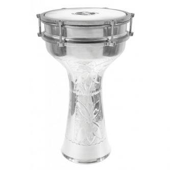 Darbouka Turque 41cm aluminium Gravé avec Cymbalettes